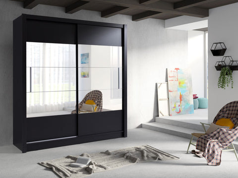 German Made Sliding 2 Door 185cm Modern Large Mirrored Wardrobe Available in Black White & Oak