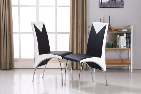 Modernique Set of 4 Charming Chairs in Black and White with Chrome Frame. Comfortable Thick Seat Pad