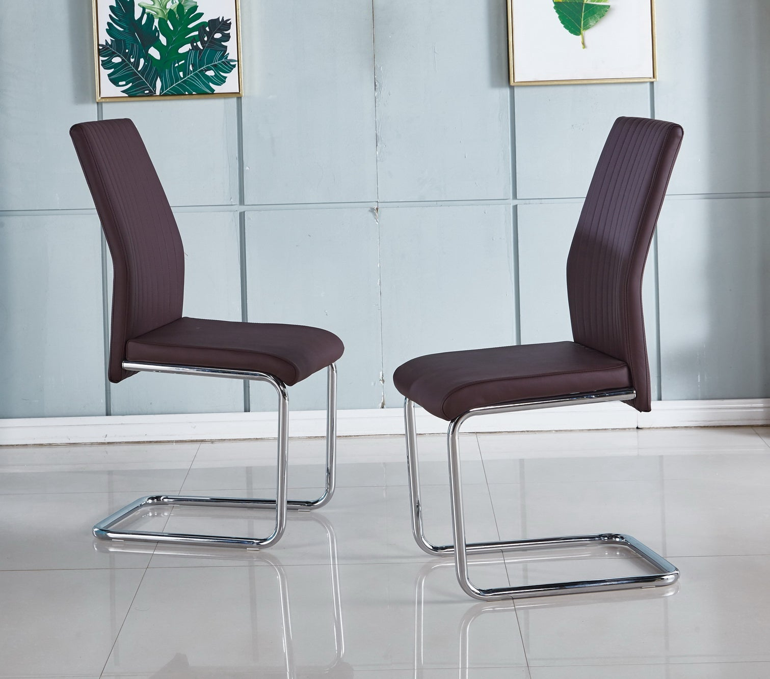 Picture of: Cheryl 4 X Modern Faux Leather Dining Chairs Chrome Legs Colours Modernique
