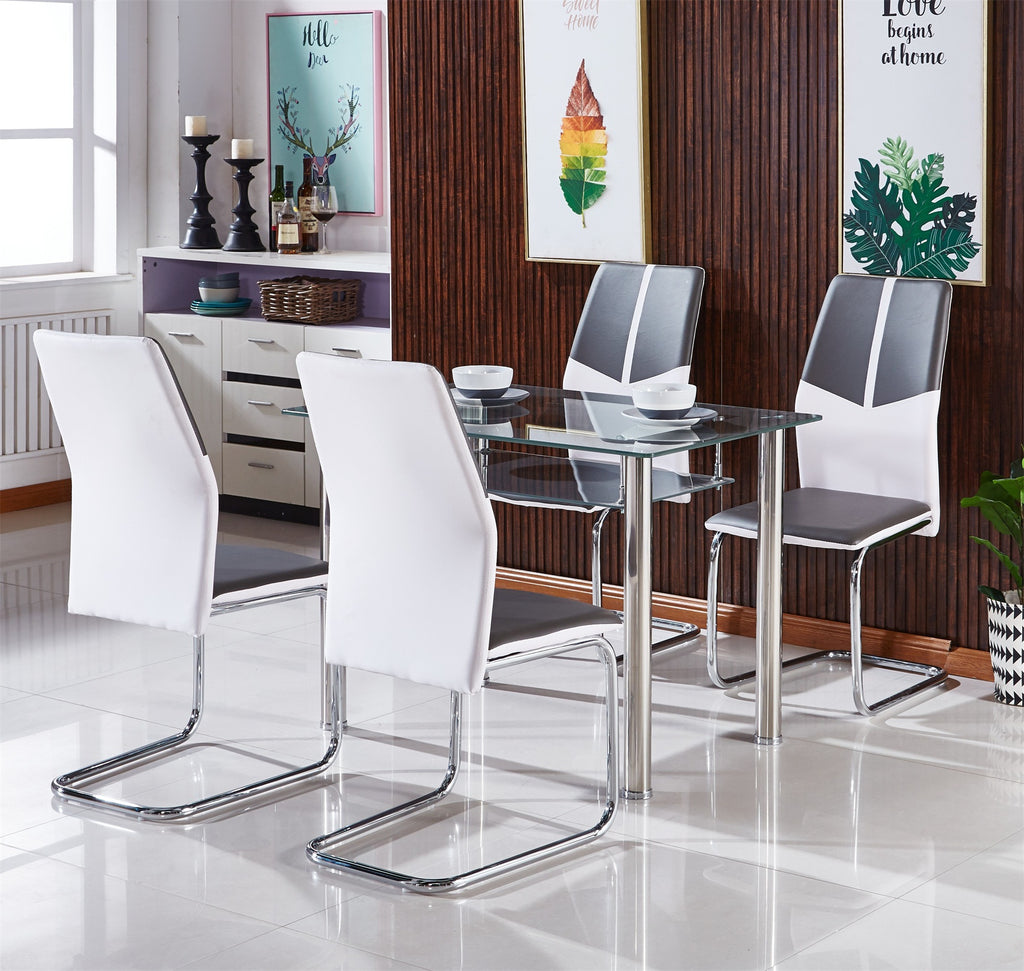 MODERNIQUE® Grey Black Tempered Glass Dining Sets with 4 Vienna Faux Leather Dining Chairs, Available in Grey, Black, Mixed White