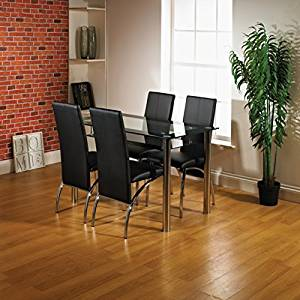 Glass Dining Table and 4 Chairs Set, Table size 105 or 80 cm with faux leather thick foam padded Chairs and Chrome Frame Available in Black and Red