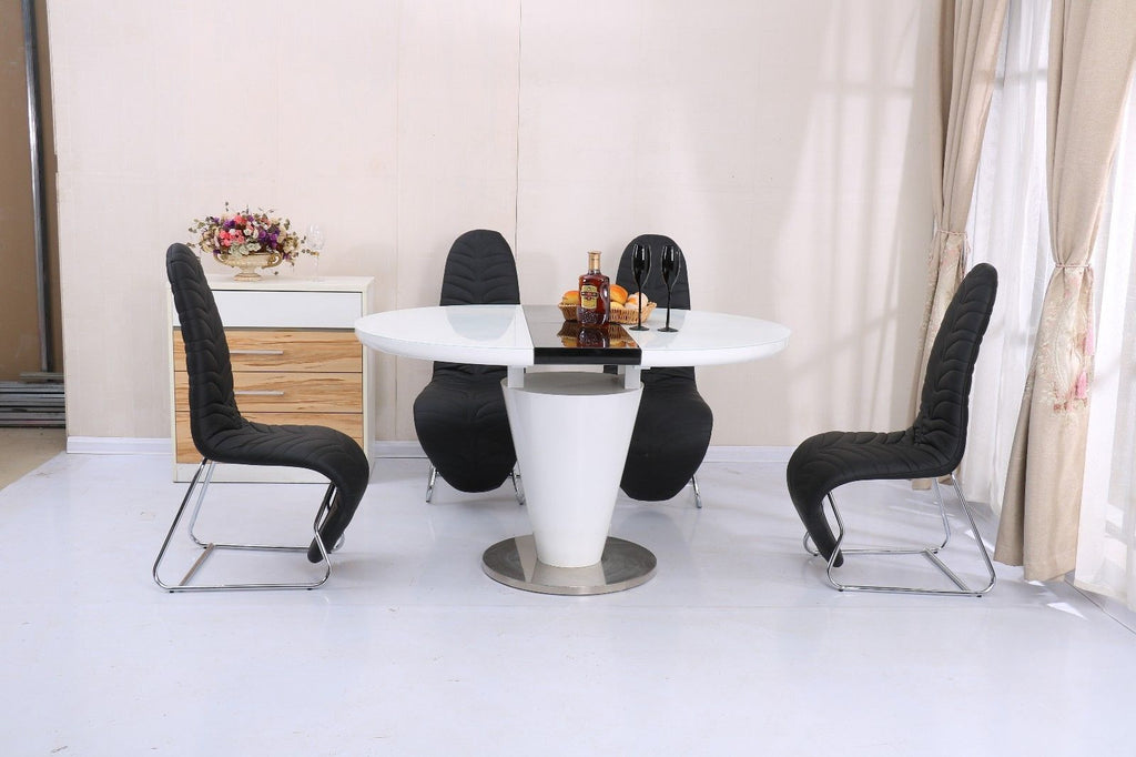 Gloss Finish White Oval Dining Table And With 4 Black Faux Leather Mermaid  Chairs Chrome Frame