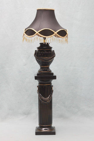 Fayre Cream and Gold, Black and Gold Pedestal Lamp with Diamante and Fancy shade