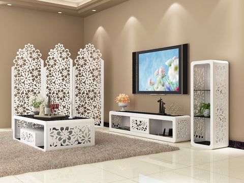 Matching Fiore Series of Coffee Table Nest of Set TV Unit Storage Cabinet Screen in White and Black Tempered Glass