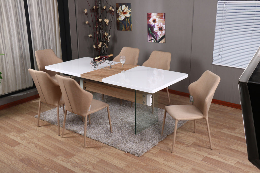 MODERNIQUE® INTERO Dining Table and 6 Chairs Dining Sets Extending Dining Table with White Gloss Finish Top and Oak Middle Extension
