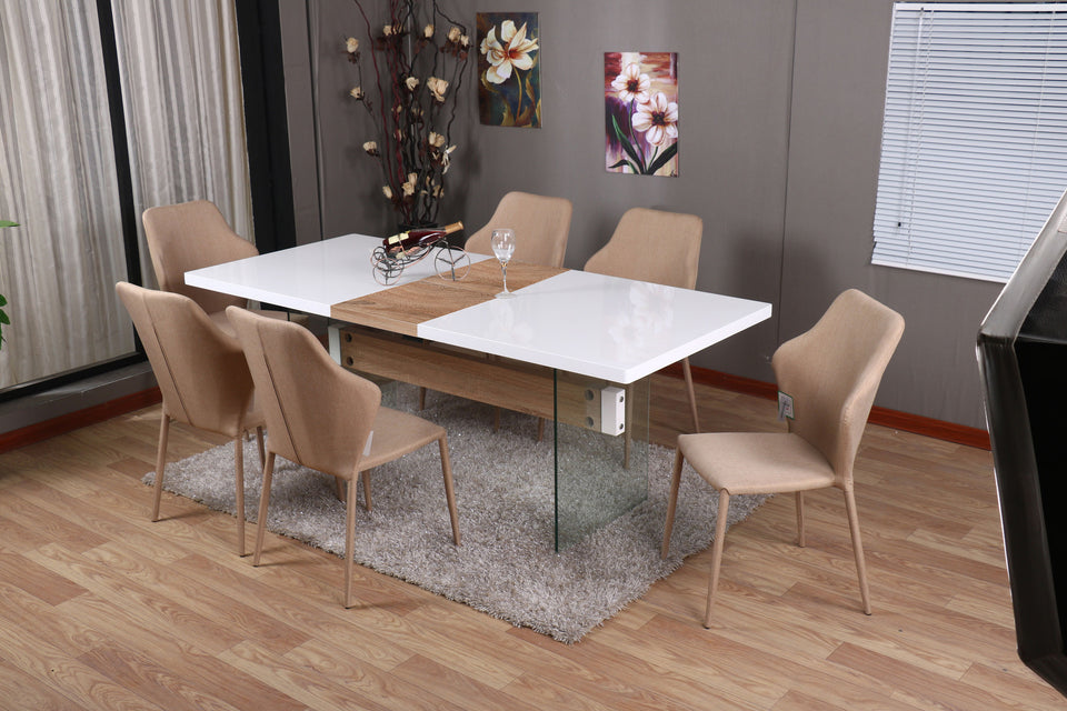 MODERNIQUE INTERO Dining Table And 6 Chairs Dining Sets Extending Dining Table With White Gloss Finish Top And Oak Middle Extension
