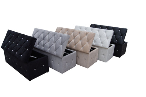 KUBIC Solid Ottoman Storage Shoe Bench Footstool Blanket Storage Poufy Seat Space-saving in Velvet or PU with Crystal Diamanted Available in Black White Grey Cream