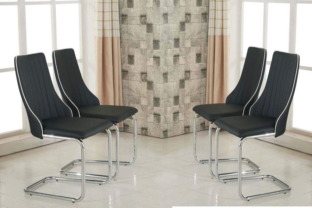 Set of 2 or 4 MODERNIQUE Magico Faux Leather Dining Chairs in Black with White Piping. Thick Foam Padded Curve Back Panel and Chrome Frame
