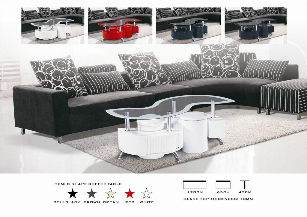S Shape Glossy & Matching Border Coffee table with 2 Storage Stools & Drawers Available in Black Brown Red Cream White