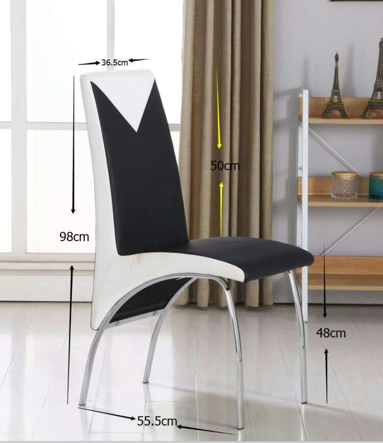 Modernique Set Of 4 Charming Chairs In Black And White With Chrome Frame.  Comfortable Thick