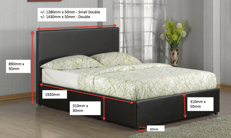 Black Or Brown Faux Leather Storage Bed In Single 3ft Small Double