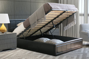 Open image in slideshow, MODERN | Black Faux Leather Storage Bed | Available Sizes: Double & Small Double | Gas Lift Up Bed |