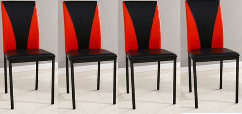 4x Faux Leather Dining Chairs, Available in Black-Red & Black-White with Black Metal Frame Strong Durable Dining Chiars