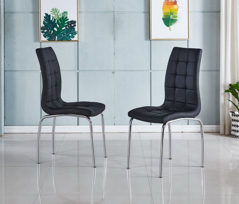 Modernique 4 X Monocco Dining Kitchen Chair Faux Leather Foam Padded Chrome Frame Black Beige White