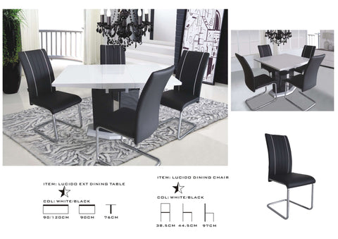 Extending (central part) white Dining Table and 4 Chairs, modern design, high gloss dining table sets