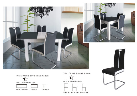 Black-White Primo Extending Dining Table and 4 Chairs Sets