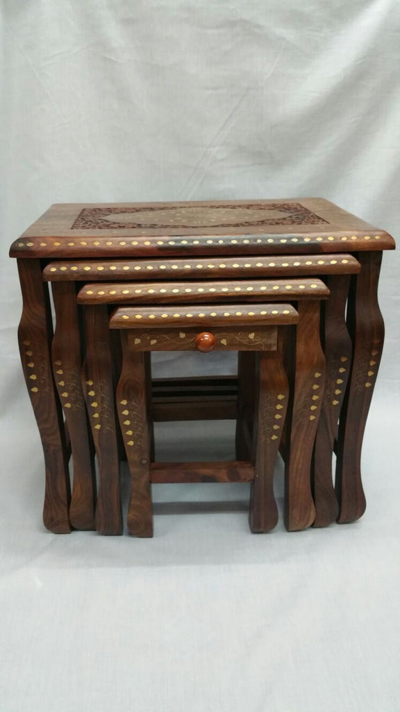 Nest of 4 Carved Indian Wooden Side End Coffee Table Nesting Livingroom Tables