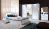 MODERN White Gloss Bedroom Set With Sliding Wardrobe & LED LIGHTS UNBELIEVABLE PRICE