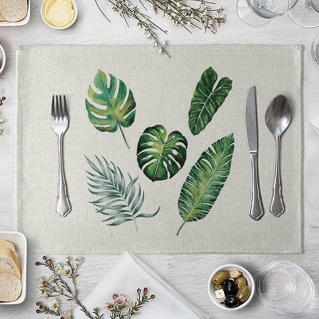 1 Pcs Placemat Table Mat Hand Painted Green Leaves Printed For Tables Heat-insulation Linen Kitchen Dining Pads