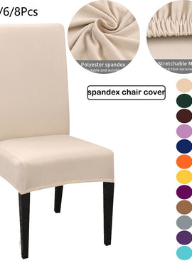 1/2/4/6/8pcs Solid Color Chair Cover Spandex Chair Covers Stretch Slipcovers For Kitchen Dining Kitchen Wedding housse de chaise