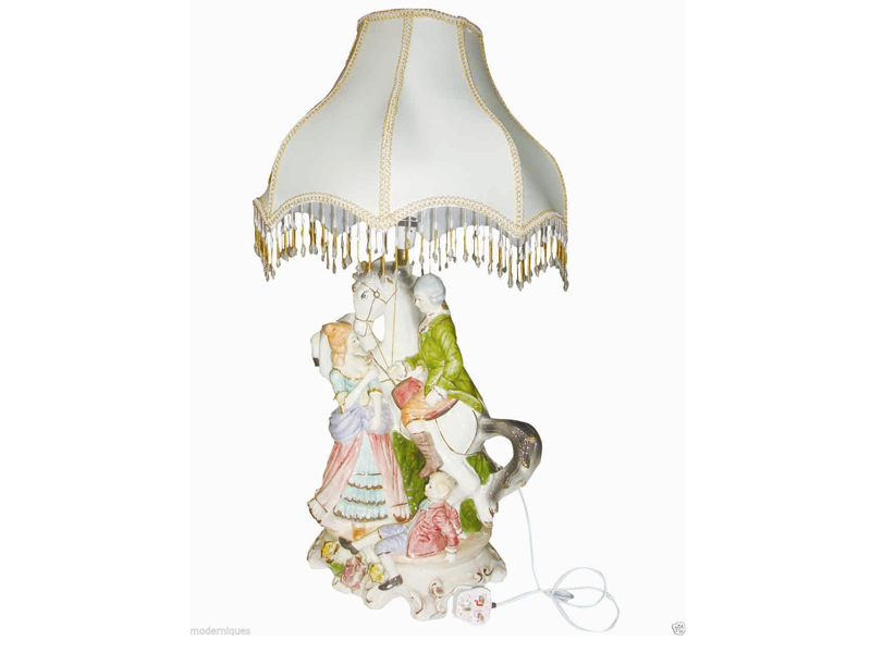 Capodimonte Style Hand Painted Family Figurine Lamp With Fancy Beaded Shade