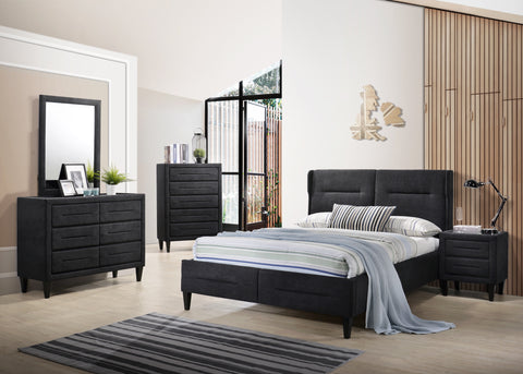 Romanitco Black Fabrics Bedroom set Consist of BED, DRESSER MIRROR BEDSIDES