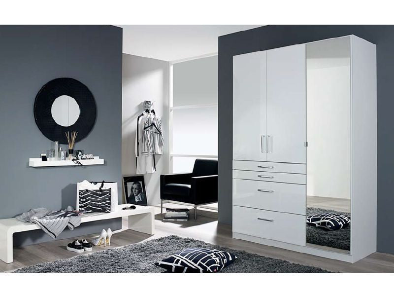 size 40 3dcb0 c9441 White High Gloss Finish German Wardrobe With Extra Drawers ...