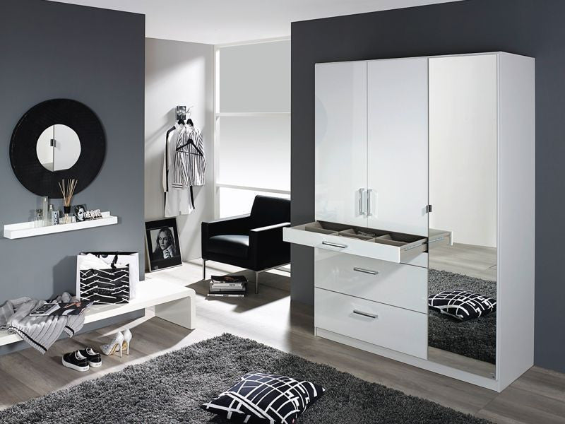 White High Gloss Finish German Wardrobe With Extra Drawers and Shelf. 100% German Made, Tested Quality Product in White
