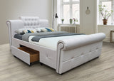 MODERNIQUE Tivona Faux Leather High Base 2 Drawers Bed Frame Available in Double King White and Black