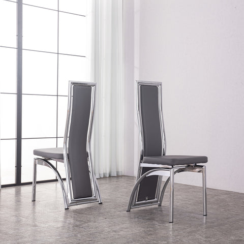 Dining Chairs in Faux Leather Foam Padded High Back & solid made Chrome frame available in Black Brown Red White Cream