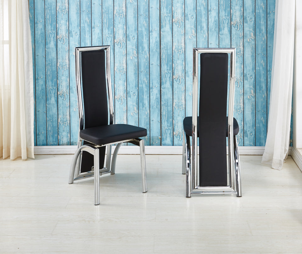 hot sale online fda5b da263 Dining Chairs in Faux Leather Foam Padded High Back & solid made Chrome  frame available in Black Brown Red White Cream