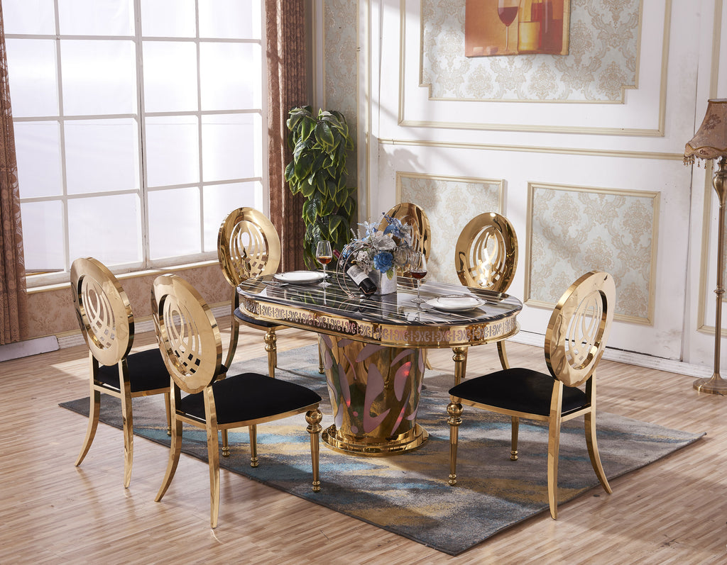 Marble Dining Table And 6 Chairs: Marble Dining Table Gold Accents Frame With 6 Matching