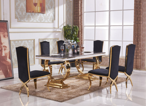 Marble Dining Table Gold Accents Frame with 6 Matching Chairs - Processed Marble