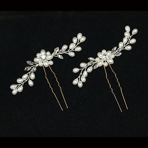 Crystal and Pearl Hair Pin Set