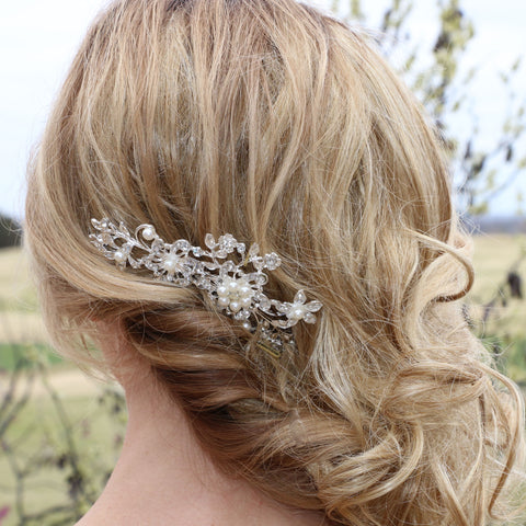 Crystal and Pearl Hair Comb