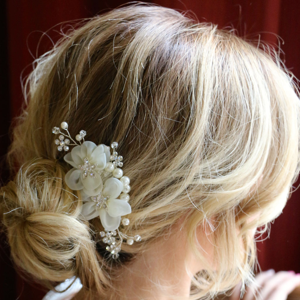 Crystal and Pearl Floral Hair Comb