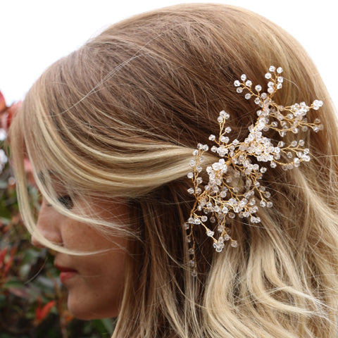 Crystal and Gold Tiara Hair Comb