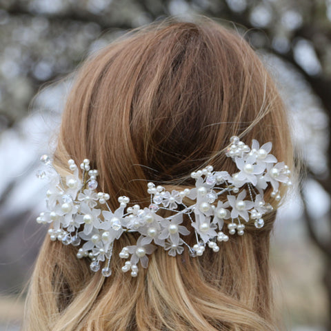 Crystal and Pearl Floral Design Hairband Strand