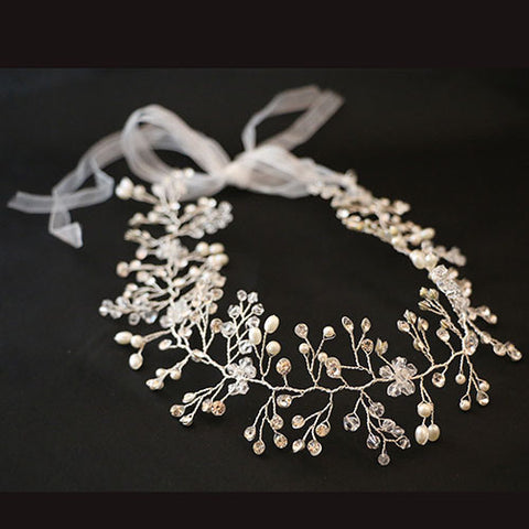 Silver and Crystal/Pearl Headdress