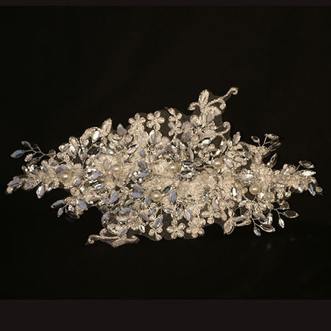 Handmade Lace, Rhinestone, Crystal and Pearl Tiara
