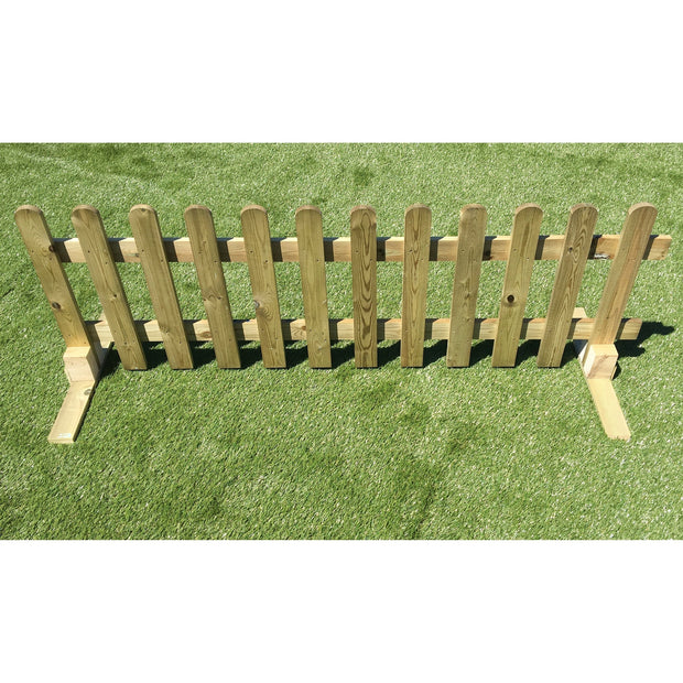 Portable Freestanding Treated Wooden 6ft Picket Fence Panel 2ft 3ft or 4ft High - Ruby UK