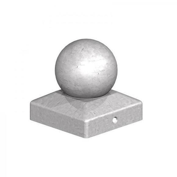 100mm Galvanised Metal Ball Post Caps - Ruby UK