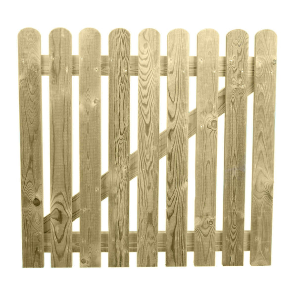3ft x 3ft Treated Wooden Picket Garden Gate - Ruby UK