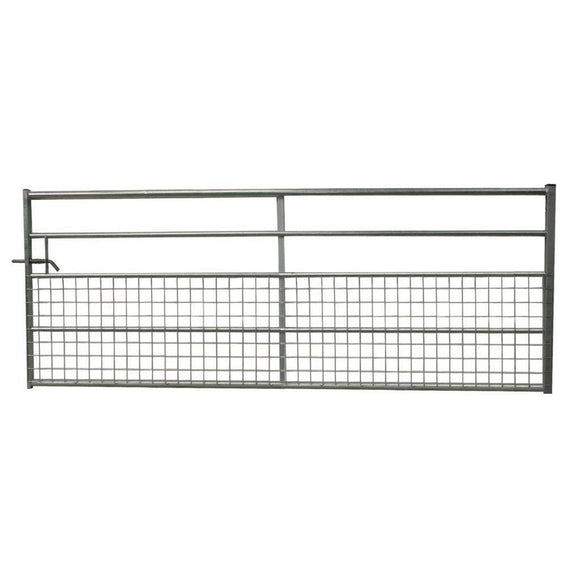5 Rail Half Meshed Metal Gate - Ruby UK