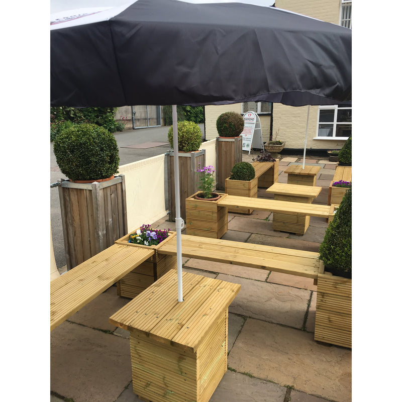 Large Square Decking Wooden Planters & Bench Combination - Ruby UK