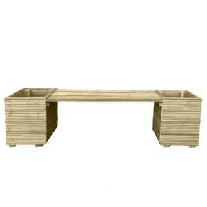 Large Square Decking Wooden Garden Planter & Bench Combination - Ruby UK