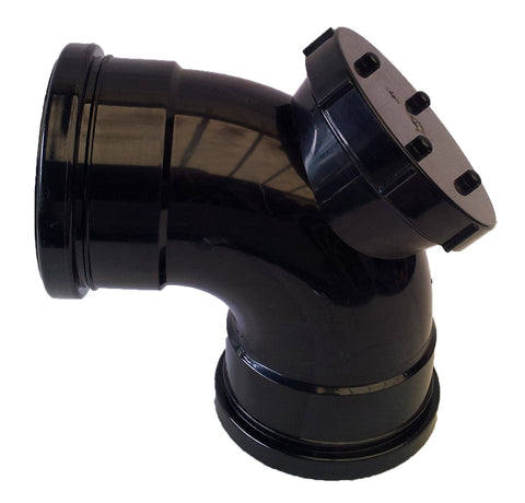 92˚ Double Socket Access Bend 110mm - Black (Push Fit) - Pipe Station
