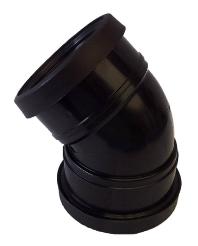 135˚ Double Socket Bend 110mm - Black (Push Fit) - Plastic Plumb