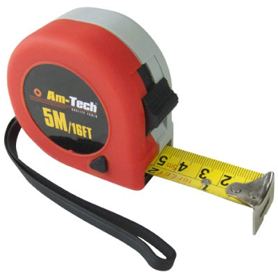 5M Double Locking Measure Tape - Plastic Plumb