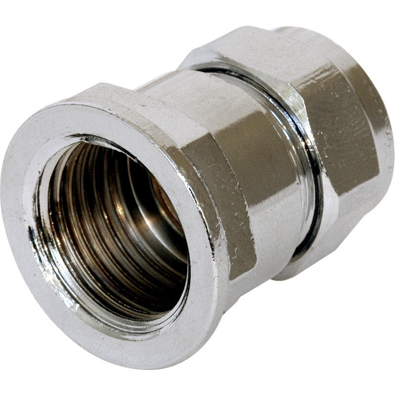 Compression Coupler Female Chrome Plated - Plastic Plumb